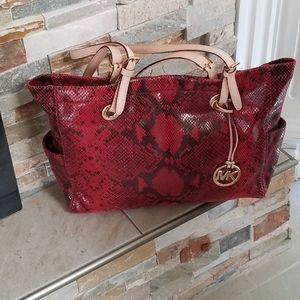 Michael Kors rich red snake skin leather tote